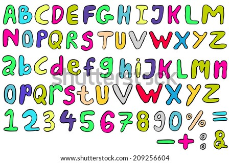 Doodle Font - Childish  - stock vector