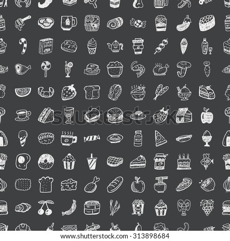 doodle food, seamless pattern background - stock vector