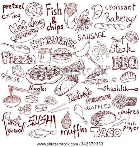 Doodle food set and inscriptions. Isolated hand drawn vector illustration