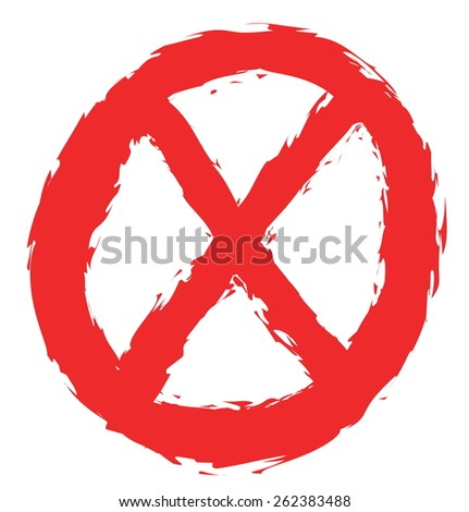 doodle forbidden sign isolated on white, vector design element - stock vector