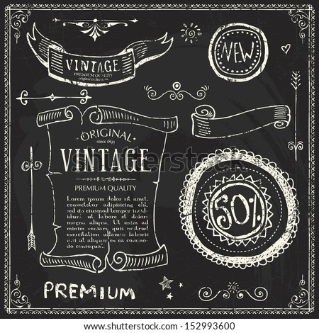 Doodle Frames and design elements. Chalk lettering  - stock vector