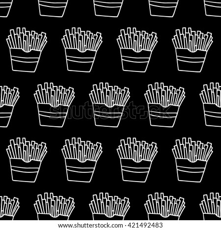 Doodle French Fries Pattern With Hand Drawn Fast Food Cute Vector Black And White