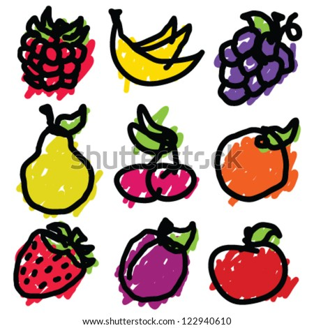 Doodle Fruit Icons