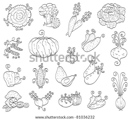Doodle fruits, vegetables - stock vector