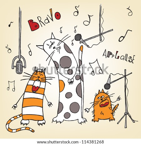 Doodle funny cats - stock vector