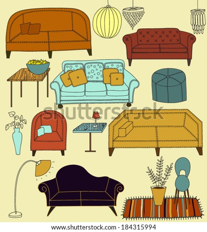 Doodle Furniture and Home Accessories - Hand drawn set of retro style furniture and accessories, including sofas, love seats, armchairs, crystal chandeliers and lamps - stock vector