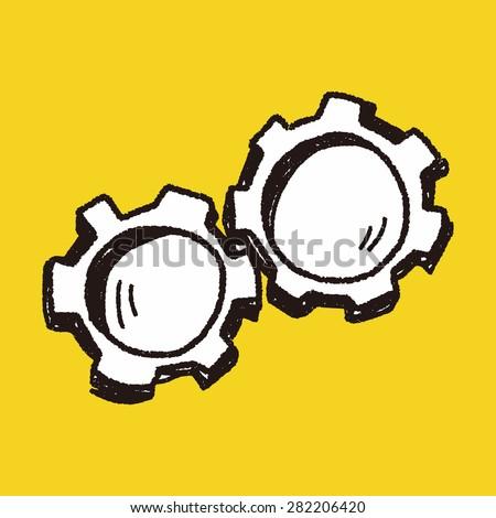 doodle gear - stock vector