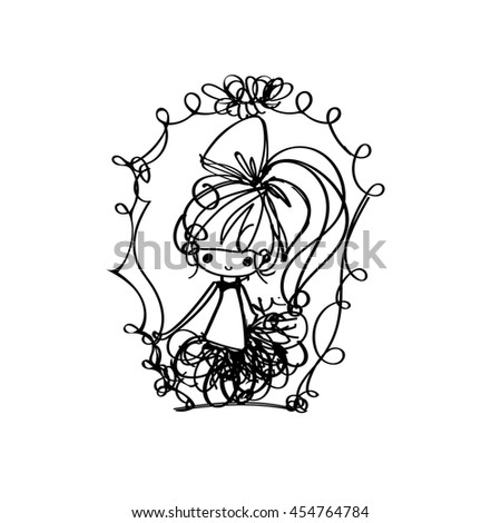 doodle girl illustration - stock vector