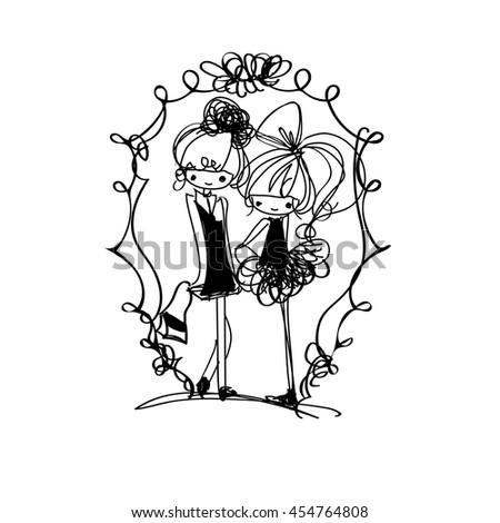 doodle girl illustration, two girls , cartoon illustration - stock vector