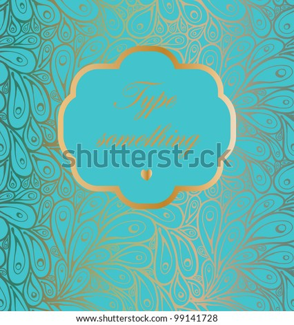 Doodle gradient peacock feathers pattern with a frame on light green-blue - stock vector