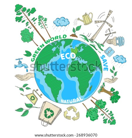 Doodle green world ecology colored concept with globe and eco decorative icons set vector illustration