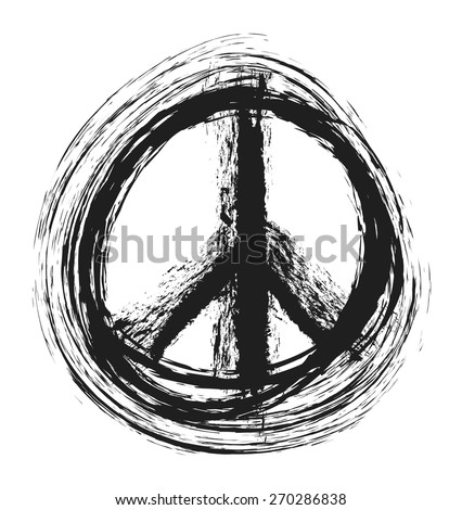 doodle grunge peace sign, vector illustration - stock vector