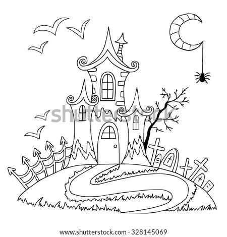 Doodle Halloween Coloring Book Halloween Vector Stock Vector ...