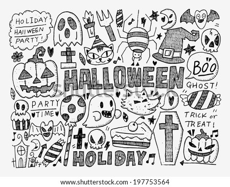 doodle halloween holiday background - stock vector
