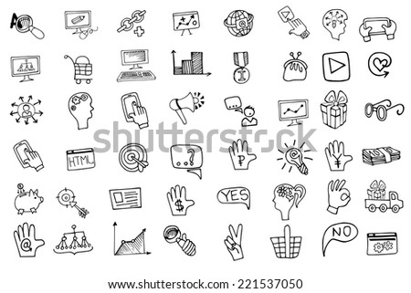 Doodle hand draw business seo sketchy icons big set . Business concept . Vector illustration