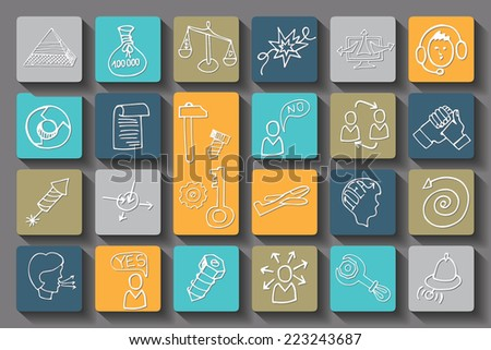 Doodle hand draw business seo sketchy icons.Colored square buttons with long shadow . Business concept . Vector illustration