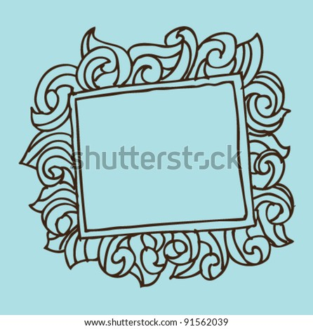 doodle hand draw frame - stock vector