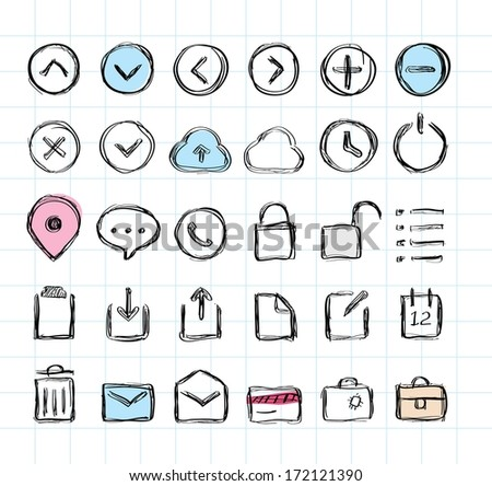 Doodle hand-draw icon set  - stock vector