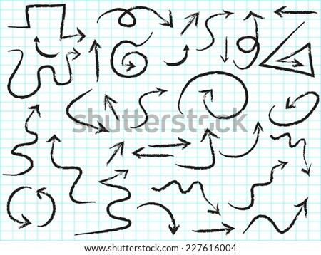 doodle hand drawn arrows set - stock vector