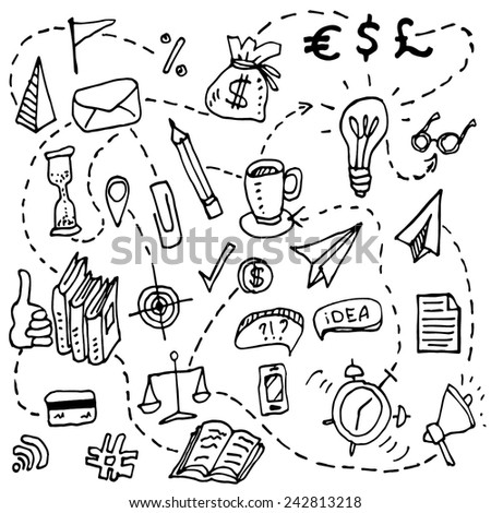 Doodle hand drawn business set elements made in vector. Kinds of business elements. - stock vector