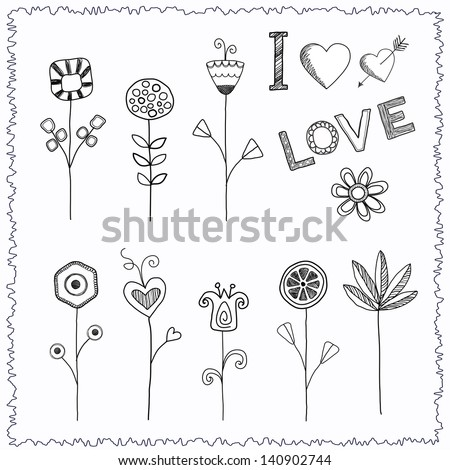 Doodle hand drawn flower set - stock vector