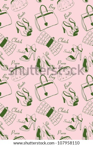 Doodle hand drawn girls' shoes and handbags seamless pattern. - stock vector