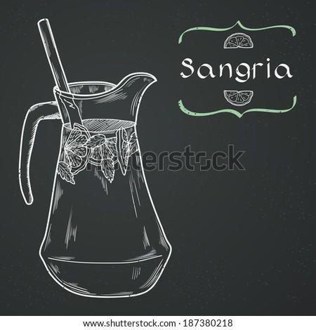 Doodle hand drawn jug of fresh home made sangria on chalkboard background. Vector illustration for restaurant or cafe menu. - stock vector