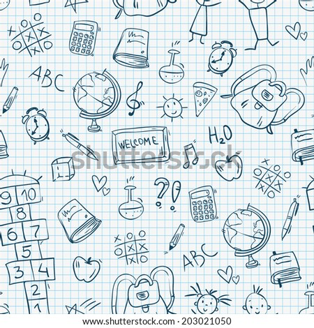 doodle hand drawn sketch school childish seamless pattern, vector illustration - stock vector