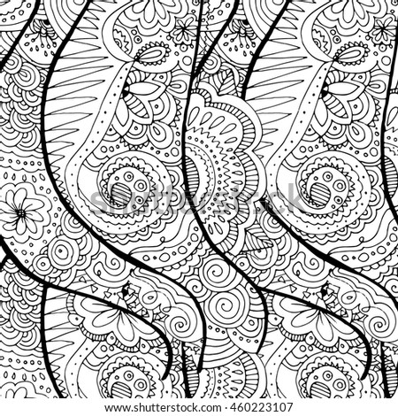 doodle hand drawn wavy seamless background. Floral elements. Coloring page for adults.