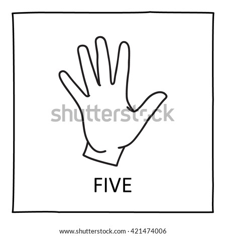 doodle hand icon counting fingers five stock vector royalty free