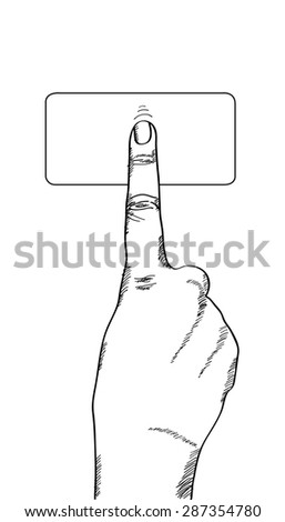 Doodle hand touching on the button, Vector Illustration EPS 10. - stock vector