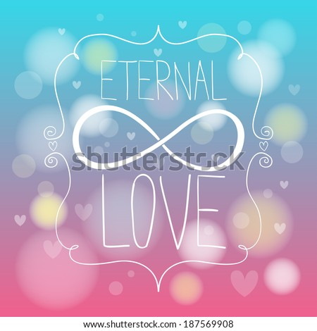Doodle hands making infinity symbol. Eternal love. - stock vector