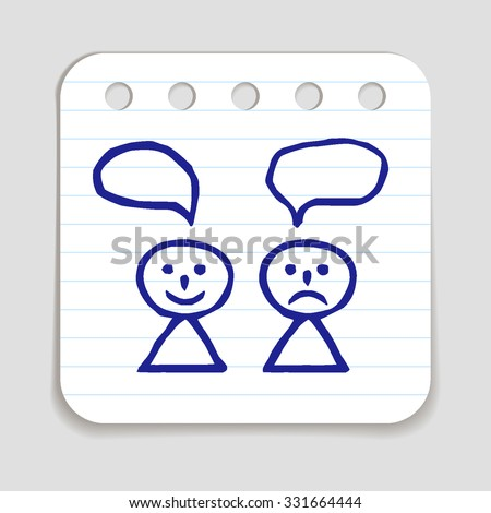 Doodle Happy and Sad person icon. Blue pen hand drawn infographic symbol on a notepaper piece. Line art style graphic design element. Web button with shadow. Different views on life, opinions concept. - stock vector