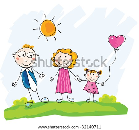 Doodle happy family. Mother, father and child on green meadow. Vector Illustration. See similar pictures in my portfolio! - stock vector