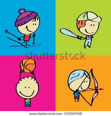 Doodle happy sport kids - stock vector