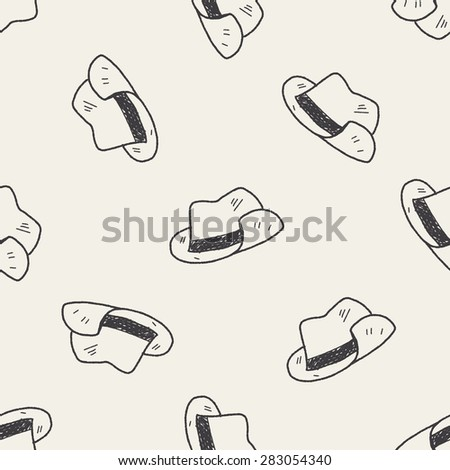 doodle hat seamless pattern background