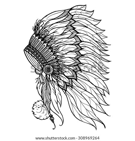 Doodle headdress for native american indian chief isolated on white background vector illustration - stock vector