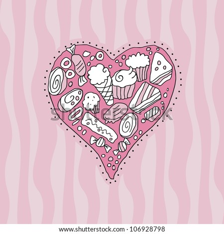 Doodle heart background with cookies and sweets - stock vector