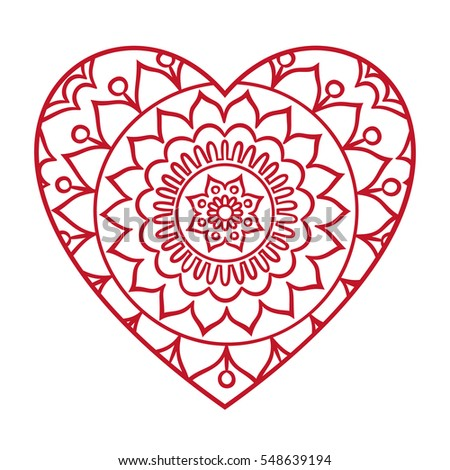 Doodle Heart Mandala Coloring Page Outline Stock Vector 476918929 ...