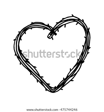 Doodle Hearth Icon Hand Drawn Valentines Stock Vector 475744246 ...