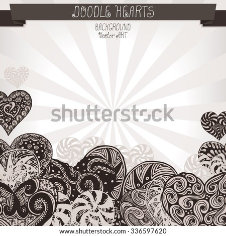 Doodle Hearts. Vector background for design.