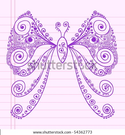Doodle Henna Sketch Groovy Butterfly Vector Illustration - stock vector