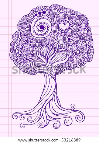 Doodle Henna Sketch Groovy Tree Vector Illustration - stock vector