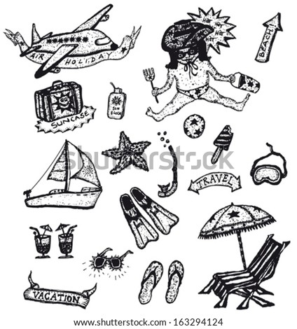 Doodle Holidays And Vacations Set/ Illustration of a set of doodle styled holidays, leisure, recreation and vacations