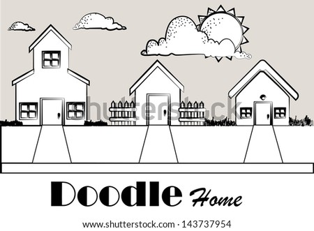 doodle home over monochrome background vector illustration - stock vector