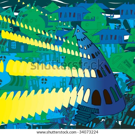 Doodle house lights - stock vector