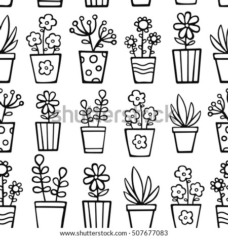 house plants drawing. doodle house plants vector seamless pattern with hand drawn in pots nice drawing