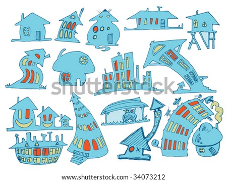 Doodle houses on white background - stock vector
