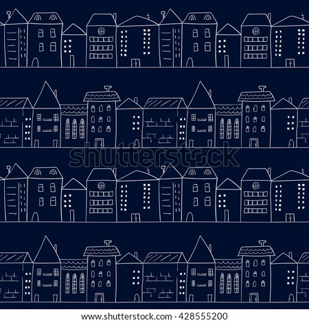 Doodle houses seamless pattern. Sketchy cityscape. Vector background of night city.  - stock vector