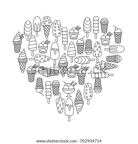 Doodle ice cream icons heart shape vector set